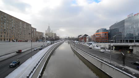 stalin : Moscow, Russia - February 20, 2018. traffic on embankments of the Yauza River