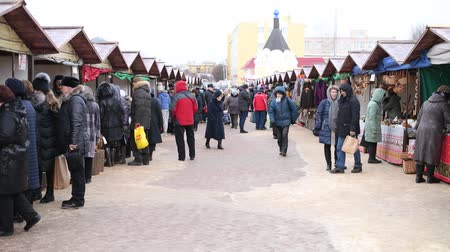 trade fair : Dmitrov, Russia - March 10. 2018. sale of clothes in the central market on Trade area