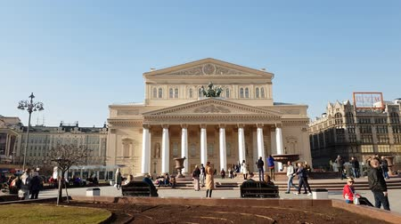 passagem : Moscow, Russia - April 14. 2018. Bolshoi Theater on Theater Square