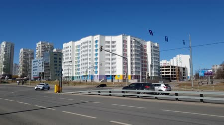 administracja : Moscow, Russia-April 22.2018. City landscape with road and houses in Zelenograd