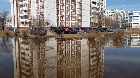 plash : Moscow, Russia-April 22.2018. Puddles after melting snow in early spring in Zelenograd