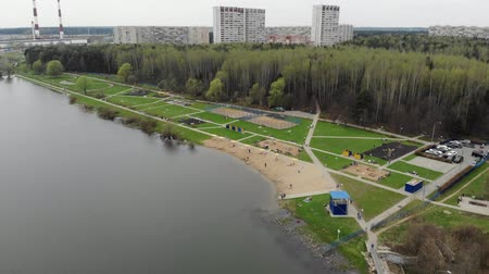 idari : Top view on school lake in Zelenograd administrative district of Moscow, Russia Stok Video