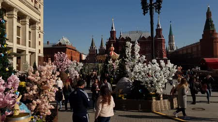 gif : Moscow, Russia - April 14. 2018. Manege Square during festival Easter gift