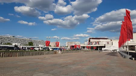 idari : Moscow, Russia - May 08. 2018. central square in Zelenograd decorated with flags for Victory Day