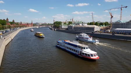 pleasure boats : Moscow, Russia - May 12. 2018. Pleasure boats on Moskva River