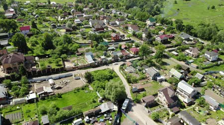 yakın : Top view of rural houses in Moscow region, Russia