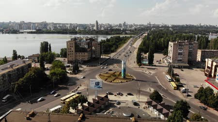 voronezh : Lipetsk, Russia - Aug 5. 2018. view of World Square and Voronezh River from above Stock Footage