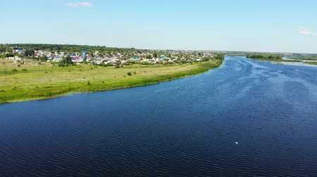 small height : river Matyra in Gryazi city in Russia, aerial survey