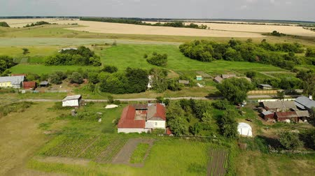 agricultural lands : Flight over the village in Russia Stock Footage