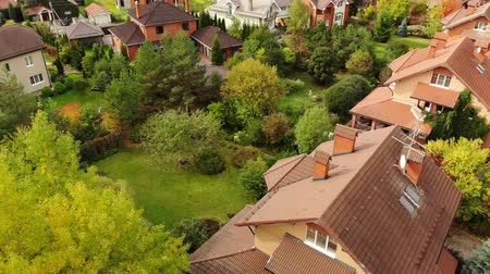 telha : top view of a beautiful cottage village in autumn Stock Footage