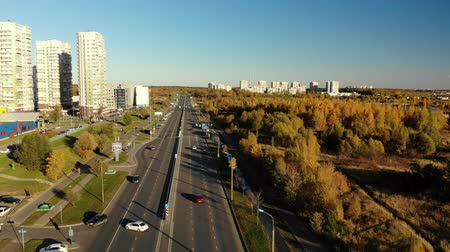 ügyintézés : Moscow, Russia - October 11. 2018. traffic on Georgievsky Avenue in Zelenograd Stock mozgókép
