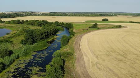 agricultural economy : Flight over plain with river and pond in July in Russia