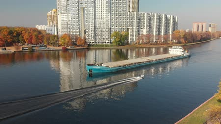 Khimki, Russia - October 17. 2018. cargo ship Volgo-Don sailing along Moscow Canal