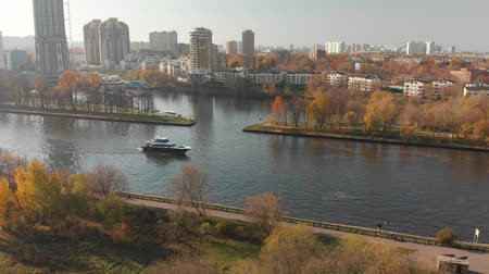 golden falls : view from above Moscow Canal and Khimki city, Russia