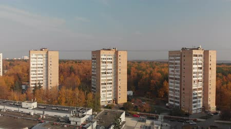 Moscow, Russia - October 20. 2018. High-rise buildings near the forest in Zelenograd.