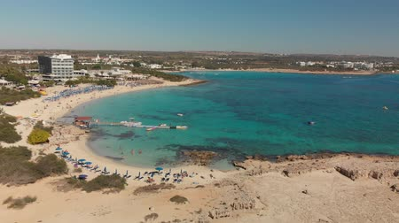 chaise longue : Ayia Napa, Cyprus - November 1. 2018. Flight over Makronissos Beach Resort