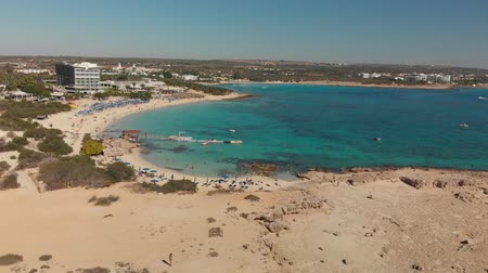 Ayia Napa, Cyprus - November 1. 2018. Flight over Makronissos Beach Resort