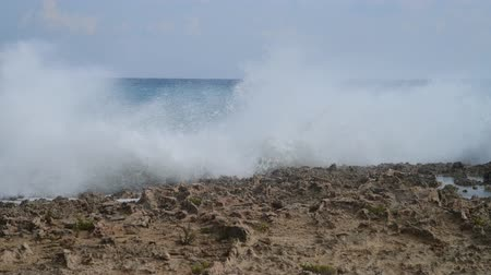 gale : Waves of Mediterranean Sea near the rocky shore