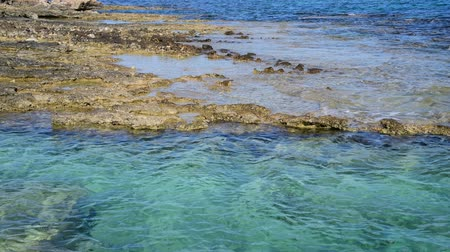 kıbrıs : clear water of Mediterranean with stone and sandy bottom