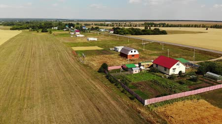 tahıllar : Rural autumn landscape from height in Russia