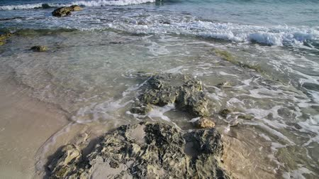 kıbrıs : clear water of Mediterranean with sandy bottom and stone