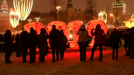 Moscow, Russia -January 2. 2019. 2019 - light installation in Zaryadye park Vídeos