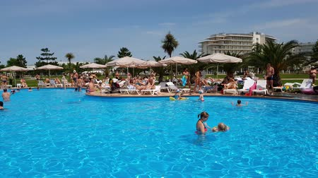 sochi : Sochi, Russia - May 31. 201 Swimming pool in hotel Sochi Park Stock Footage