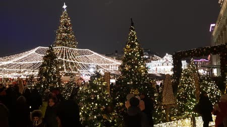 ladin : Moscow, Russia - January 7.2019. Beautiful Christmas glowing decorations on Manezhnaya ploshchad Stok Video