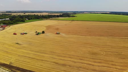 kürek çekme : Lipetsk, Russia - July 29. 2018. Top view of harvesters in field