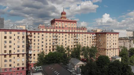 bridgework : Top view of old houses in center in Moscow, Russia. Stock Footage