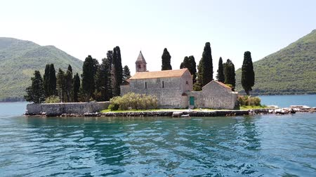 kotor : Natural islet with Saint George Benedictine monastery. Kotor Bay. Montenegro Stock Footage
