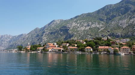 kotorska : View of the Dobrota city from the Bay of Kotor, Montenegro Stock Footage