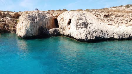 gruta : View from the sea to Caves in Cavo Greco in Protaras, Cyprus