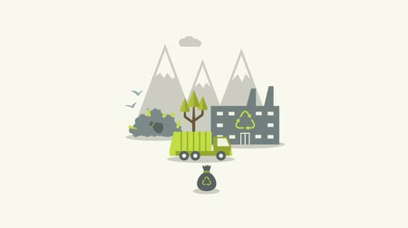 ekosistem : Ecologic recycling and waste utilization concept in flat style. Environmental ecological infographics. Video animation, Full HD 1920x1800