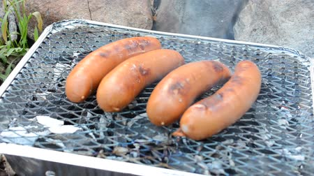 eldobható : sausages cooking on a disposable barbecue outdoors Stock mozgókép