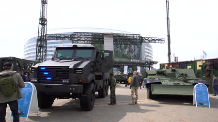 BELARUS, MINSK, 17 May 2019: 9th International Exhibition of Armament and Military Equipment Milex -2019 Stok Video