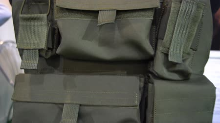 щит : BELARUS, MINSK, 17 May 2019: 9th International Exhibition of Armament and Military Equipment Milex -2019. Military vest against bullets