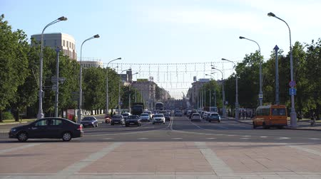 Minsk, Belarus, June 16, 2019: traffic on Independence Avenue near Victory Square at crossroads of a car driving