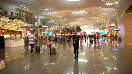 imposto : Istanbul, Turkey, August 28, 2019: general plan of new airport in Istanbul duty-free zone, people are shopping while waiting for an airplane