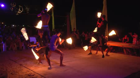 Thailand, Phi Phi Island, September 28, 2019: Fire show on open beach.
