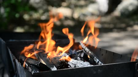 Wood burns in the grill outdoors