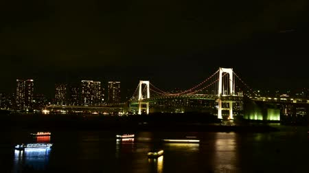 Tokyo Bay at Rainbow Bridge night view Vídeos