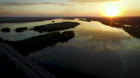 Drone sunset shoot of river and bridge