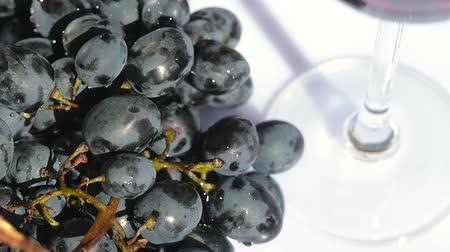 fructose : Camera spin around dark grape and glass