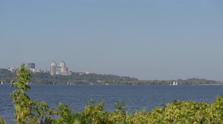 splendid : View of river and city Dnipro in Ukraine