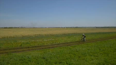 fiatal felnőttek : Aerial shot. Young man cycling on a rural road through green and yellow summer meadow during sunny day. Stock mozgókép