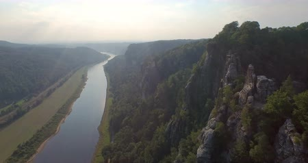 saxon : A birds-eye view a beautiful panoramic view of Bastai in Germany next to the river on a sunny day