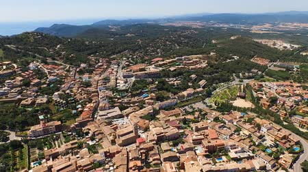 mediaeval : Aerial view of the scenic places with a view of the valleys, mountains and the sea with beaches. Spain, Catalonia