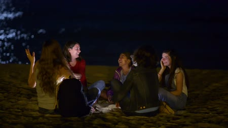 mehtap : Group of young people spending the night on beach in the moonlight Stok Video