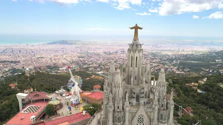 Aerial view of tibidabo monument and amusement park Stok Video